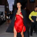 Irina Shayk in Red Satin Dress – Leaving a photoshoot in New York City