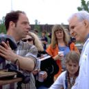 Writer/director David Atkins and Steve Martin on the set of Artisan's Novocaine - 2001