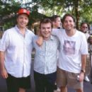 Bobby Farrelly, Jack Black and Peter Farrelly on the set of 20th Century Fox's Shallow Hal - 2001
