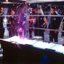 Troy Larson (Peter Facinelli), Danika Lund (Robin Tunney), Yerzy Penalosa (Lou Diamond Phillips), Benj Sotomejor (Wilson Cruz), Nick Vanzant (James Spader) and Kaela Evers (Angela Bassett) observe an alien artifact in MGM's Supernova - 1/2000 - 350 x 233