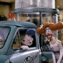 Gromit and Wallace (voiced by Peter Sallis) and Lady Tottington(voiced by Helena Bonham Carter) on the set of DreamWorks' new animation, Wallace and Gromit: The Curse of the Were-Rabbit - 2005