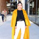 Lana Condor – In a yellow coat posing while out in NYC - 454 x 602