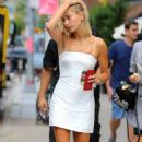 Hailey Baldwin in White Mini Dress – Out in New York City - 454 x 786