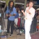 Zach Prather grooving with Mick Jagger - Mustique Blues Festival 2008