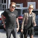 Johnny Hallyday is seen visiting the Brentwood Country Mart with his wife Laeticia on February 2, 2015 in Brentwood, California - 454 x 523