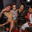 £1,469 worth of style? F1 ace Lewis Hamilton and footballer Neymar rock loud colours, stripes and double denim in VERY bizarre looks at LFW... . as they party with scantily-clad models - 454 x 298