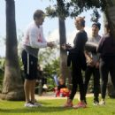 Amber Valletta – Taking her yoga class in a park in Santa Monica - 454 x 467