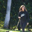 Nina Dobrev in Tights – Walking Her Dog Maverick in Hollywood 02/25/2019