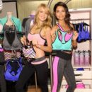Lindsay Ellingson and Lily Aldridge celebrate the launch of the World's Best Sport Bras from Victoria's Secret Sport on October 22, 2013 in New York City