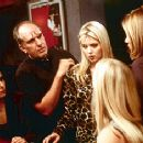 Director Michael Cristofer with (l to r) Sybil Temchen, Tara Reid, Emily Procter and Amanda Peet on the set of Body Shots - 10/99