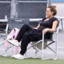 Jessica Alba and Cash Warren watching Haven's soccer game in Westwood  (September 17, 2017)