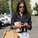 Model Alessandra Ambrosio is seen leaving a meeting in West Hollywood, California on May 13, 2015
