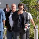 Johnny Depp grabs a coffee while on a break from filming his latest movie 'Transcendence' in Los Angeles
