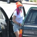 Bella Thorne in Denim Shorts out in Los Angeles - 454 x 766