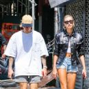 Hailey Baldwin in Denim Shorts with Justin Bieber out in NYC