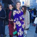 Nina Agdal in Blue Floral Pants Suit out in NY