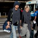 Chad Michael Murry and Nicky Whelan arrive at LAX airport on November 20, 2013