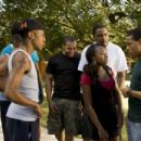(L-r) BRANDON T. JACKSON as Benny, VINCE GREEN as Malik, NATURI NAUGHTON as Stacie, JASON WEAVER as Ray-Ray and BOW WOW as Kevin Carson in Alcon Entertainment's comedy 'LOTTERY TICKET,' a Warner Bros. Pictures release. Photo by David Lee - 454 x 302