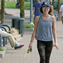 Lucy Hale–Takes her dog Elvis on a walk in Vancouver - 454 x 681