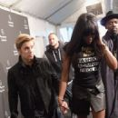 Justin Bieber & Naomi Campbell pose backstage at Naomi Campbell's Fashion For Relief Charity Fashion Show during Mercedes-Benz Fashion Week Fall 2015 at The Theatre at Lincoln Center on February 14, 2015 in New York City