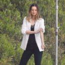 Behati Prinsloo – On the set of a photoshoot in Malibu