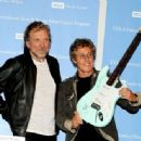 Robert Plant and Roger Daltrey pose at a press conference to announce the Daltrey/Townsend Teen & Young Adult Cancer Program at UCLA on November 4, 2011 in Los Angeles, California - 454 x 336