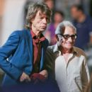 "Mick Jagger and Martin Scorsese on the set of ""Rock n 'Roll Project"", a HBO TV movie, New York on July 18, 2014"