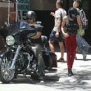LeAnn Rimes and Eddie Cibrian spotted out cruising their motorcycle in downtown Los Angeles, California on July 7, 2012
