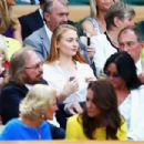 Sophie Turner arrives in the royal box on centre court during the women's semi-final matches on the eleventh day of the 2016 Wimbledon Championships at The All England Lawn Tennis Club in Wimbledon, southwest London, on July 7, 2016