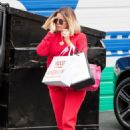 Khloe Kardashian in Red at a local studio in Los Angeles