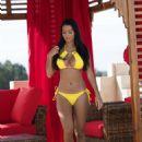 Yazmin Oukhellou in Yellow Bikini on vacation in Morocco - 454 x 605