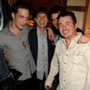 James Jagger, Mick Jagger, William Meredith and Shane Richie pose backstage following ''Lone Star & PVT. Wars'' at the King's Head Theatre on September 5, 2007 in London, England - 391 x 594