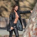 Charlie Riina does a sexy 138 Water photo shoot in collaboration with NU Denmark clothing at the Sunset Plaza in West Hollywood, California on January 4, 2016 - 400 x 600
