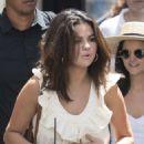 Selena Gomez in Long Beige Dress with her friends in Capri