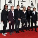 Musicians Franz Stahl, Nate Mendel, Pat Smear, Taylor Hawkins, Dave Grohl, and Chris Shiflett of Foo Fighters attend The 58th GRAMMY Awards at Staples Center on February 15, 2016 in Los Angeles, California. - 454 x 331