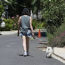Lucy Hale – Wearing denim shorts while dog walk in Beverly Hills