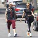Behati Prinsloo and Adam Levine – Heads to morning Pilates workout in Studio City - 454 x 420