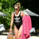 Rhea Durham in Black Adidas Swimsuit at the beach in Barbados - 454 x 598
