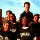 Front row: Julian Griffith, Brian Reed, DeWayne Warren; Middle Row: Bryan Hearne, Michael B. Jordan, Michael Perkins and A. Delon Ellis Jr.; Back row: Alexander Telles and Keanu Reeves in Paramount's Hardball - 2001