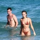 Selena Weber in Red Bikini at a beach in Miami - 454 x 413