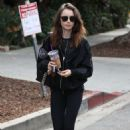 Lily Collins in Tights – Hits the gym in West Hollywood