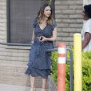 Jessica Alba in Blue Dress – Visits her friends in Santa Monica