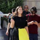 Ashley Graham in Mini Skirt – Leaving her hotel in Paris - 454 x 826