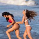 Natalie Halcro and Olivia Pierson in Red and White Bikini on the beach in Malibu