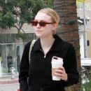 Dakota Fanning in Black Jumpsuit – Getting coffee in Beverly Hills