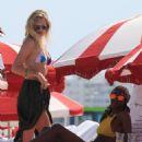 Toni Garrn in Blue and White Bikini on the beach in Miami - 454 x 681