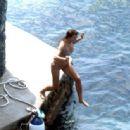 Irina Shayk in Leopard Print Bikini on holiday in Positano