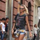Behati Prinsloo In Shorts Out In Nyc