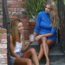 Charlotte Mckinney in Blue Mini Dress Outside of Her Home in West Hollywood - 454 x 681