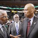 NBA Hall of Famers Julius Erving (left) Bill Russell (center)and Kareem Abdul-Jabbar (right) - 454 x 340